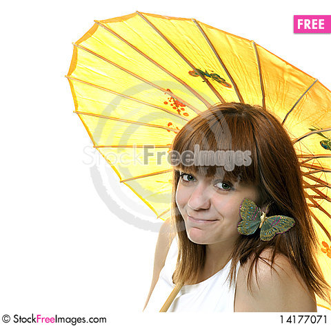 Free Portrait Of A  Smiling Young   Girl  With Umbrella Stock Image - 14177071