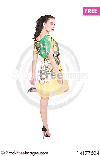 Free Young Model In Modern Dress On White Stock Images - 14177504