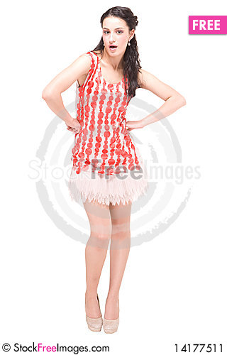 Free Beautiful Model In Red Dress On White Stock Image - 14177511