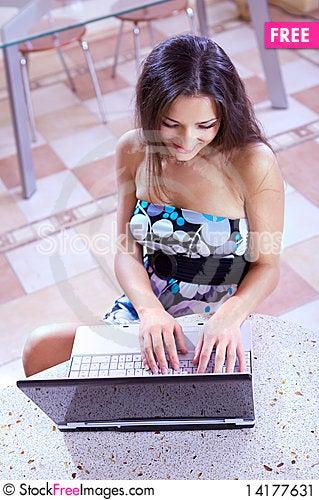 Free Joyful Girl In Internet Cafe Stock Image - 14177631