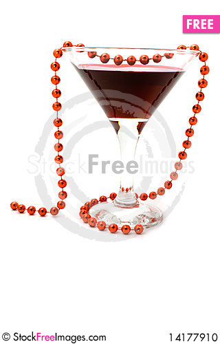 Free Wine And Beads On A White Background Stock Photo - 14177910