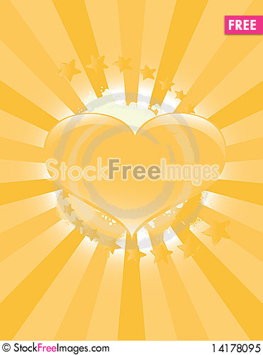 Free Golden Heart Background Royalty Free Stock Photo - 14178095