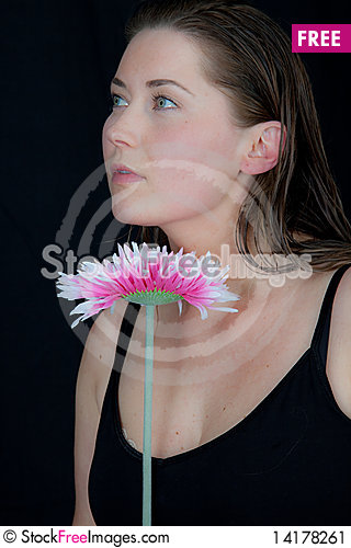 Free Woman Holding Flower Stock Image - 14178261
