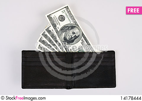 Free US Dollar Bills In A Wallet Stock Images - 14178444