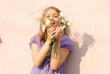 Free Girl With Flowers Royalty Free Stock Photography - 14171357
