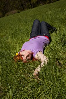 Young Woman In The Middle Of Nature Royalty Free Stock Photos