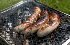 Free Burnt Sausages On Picnic Grill Royalty Free Stock Photography - 14173657