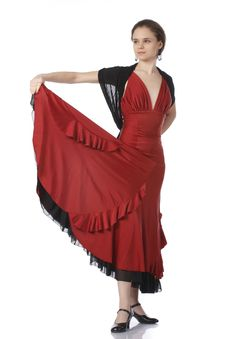 Beautiful Flamenco Dancer. Dancing Contest. Royalty Free Stock Photos