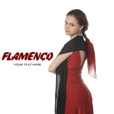 Beautiful Flamenco Dancer. Dancing Contest. Stock Photo