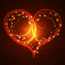 Burning Heart With Sparkles Royalty Free Stock Images