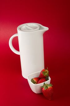 White Jug On Red Background