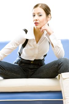 Free Sitting Businesswoman Stock Image - 14176201