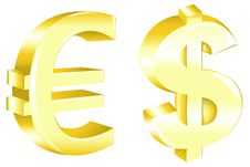 Dollar And Euro Signs. Vector Royalty Free Stock Image