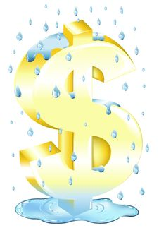 Dollar Sign In The Rain. Vector