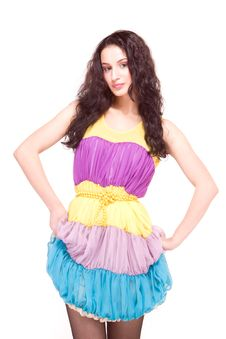 Free Beautiful Model In Colorful Dress On White Royalty Free Stock Photo - 14177515