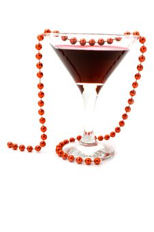 Wine And Beads On A White Background Stock Photo