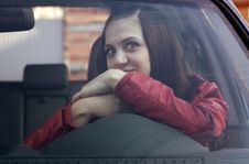 Attractive Young Woman In Automobile Stock Photography
