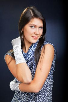 Beautiful Woman In Dress And Gloves