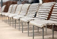 Free White Benches Royalty Free Stock Images - 14179079