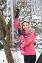 Free Teenage Girl Hanging Fairy Lights In Tree Stock Photo - 14188810