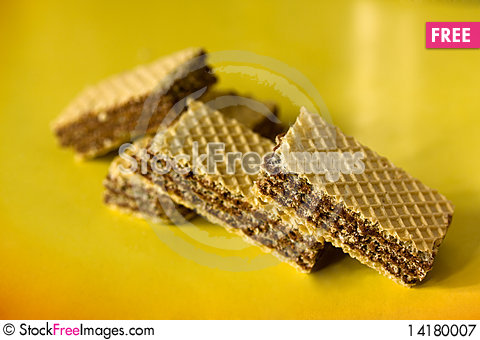 Free Wafer On A Yellow Background Royalty Free Stock Photography - 14180007