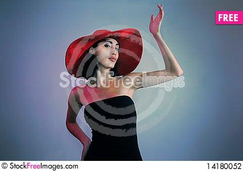 Free Retro Fashion Lady With Big Hat Stock Photography - 14180052