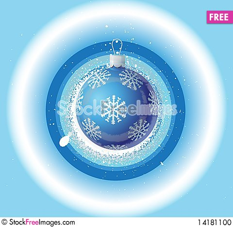 Free Christmas Background And Blue Ball Stock Photo - 14181100