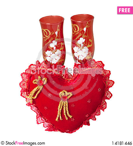 Free Wedding Glasses On A White Background Royalty Free Stock Image - 14181446