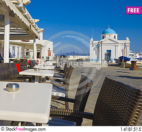 Free The Restaurant And The Church On Mykonos Island Royalty Free Stock Photo - 14181515