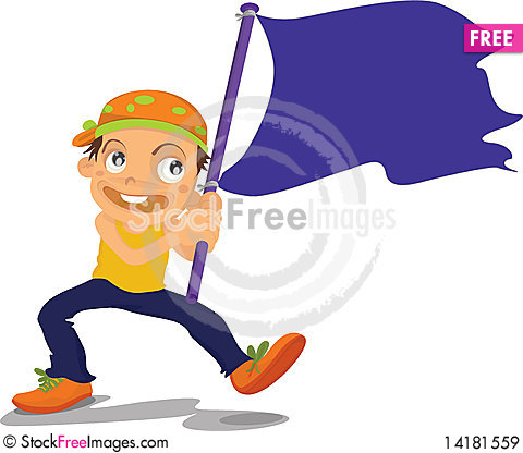 Free Boy Holding Flag Royalty Free Stock Images - 14181559