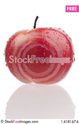 Free Red Juicy Apple With Drops Stock Images - 14181674