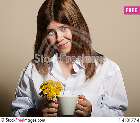 Free Girl With Coffee Stock Images - 14181774