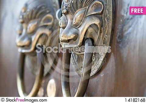 Free Chinese Door Knocker Royalty Free Stock Photos - 14182168