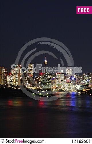 Free Sydney City Lights At Night Stock Image - 14182601