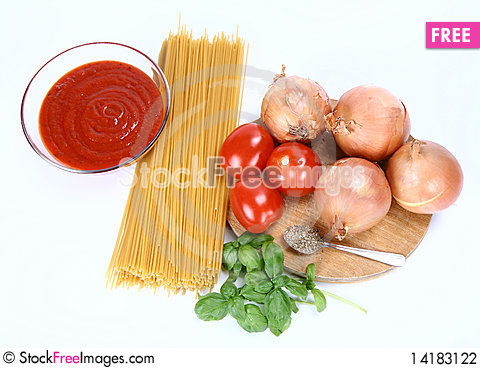 Free Spaghetti Bolognese Ingredients Stock Photography - 14183122