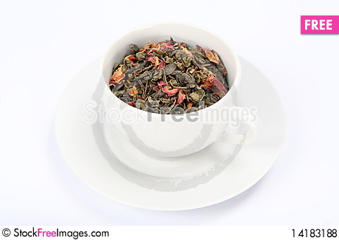 Free Cup Of Green Tea Leaves Royalty Free Stock Photos - 14183188