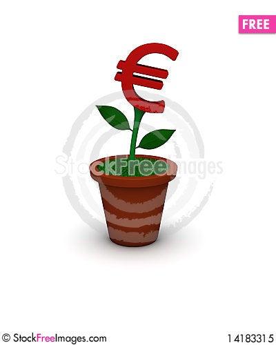 Free Euro Flowerpot Royalty Free Stock Photo - 14183315