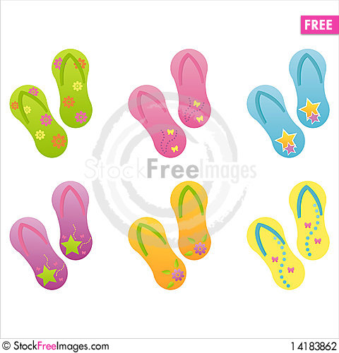 Free Set Of 6 Flip-flops Stock Photography - 14183862