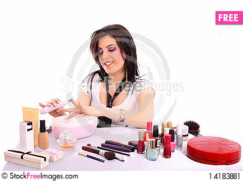 Free Beautiful Young Woman Makes Her Nail Stock Image - 14183881