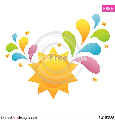 Free Colorful Sun Background Royalty Free Stock Image - 14183886