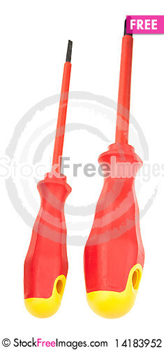 Free Two Red-yellow Screwdrivers Stock Photography - 14183952