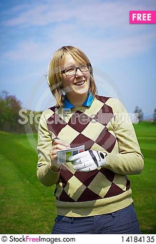 Free Golfer Woman Writing Handicap Royalty Free Stock Photo - 14184135