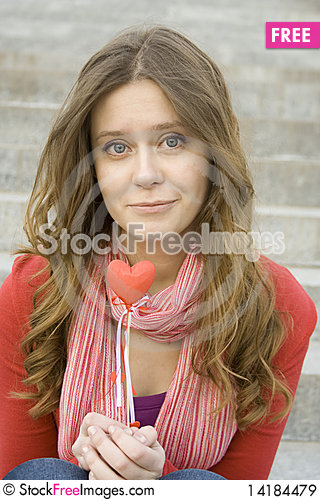 Free Beautiful Girl With A Red Heart Royalty Free Stock Images - 14184479