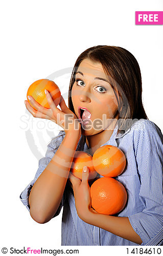 Free Young Beautiful Woman With Citrus Orange Fruit Stock Photo - 14184610