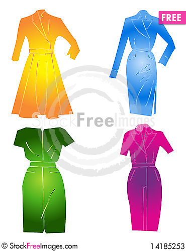 Free Four Dresses In Color Stock Photos - 14185253