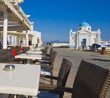 The Restaurant And The Church On Mykonos Island Royalty Free Stock Photo