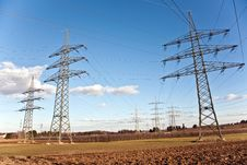 Free Electricity Tower For Energy With Sky Stock Photos - 14181693