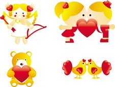 Free Cute Valentine S Icons Royalty Free Stock Photography - 14183067