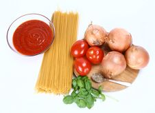 Spaghetti Bolognese Ingredients Stock Photography