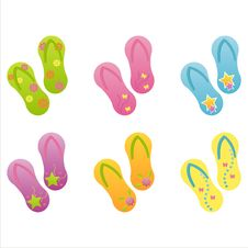 Free Set Of 6 Flip-flops Stock Photography - 14183862